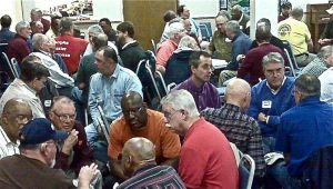 Men sharing faith stories at DOC retreat in Virginia