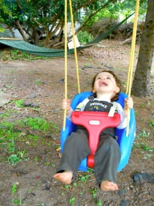 """I'm swinging! Yay! When I'm done I may just move over to the hammock!"""