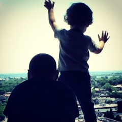 """David (with his daddy) looking out into the """"universe of possibilities"""""""
