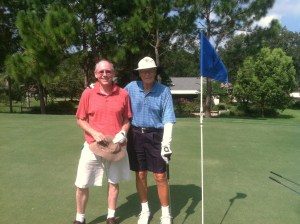 Earlier Wednesday. In front of our old house on the 7th green