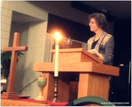 Rebekah speaking at WFPC Maunday Thursday services