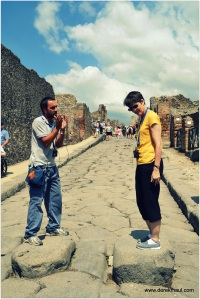 Rebekah and our guide in Pompeii