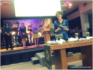 Rebekah preparing to serve communion