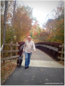 with Scout on the greenway