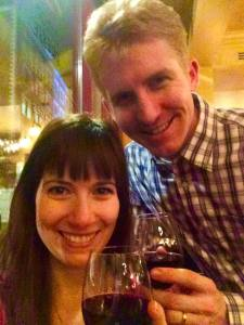 Andrew and Alicia in London last weekend, toasting their new adventure