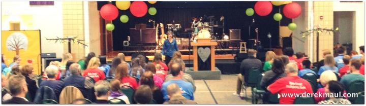 Rebekah welcoming the 9:00 crowd