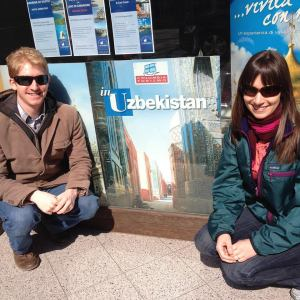 posing with an Uzbekistan poster in Verona this week