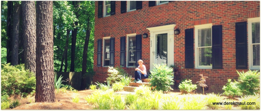 Rebekah getting some inspiration from the garden