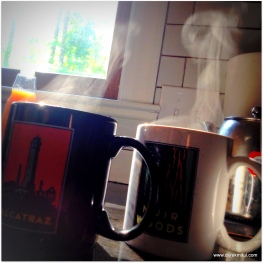 two cups of coffee waiting for the paper
