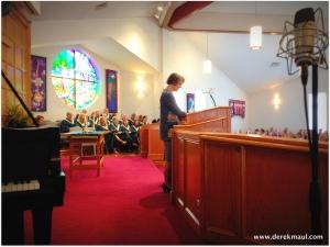 Rebekah leading worship at the 11:15 service