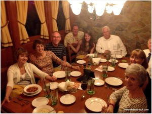 around the table with family at The Olive Garden