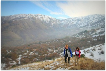 Andrew and Alicia hiking in the Himalayas this past weekend (Boris Karpov)