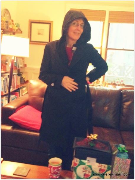 Rebekah modeling her new coat