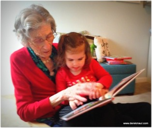 reading with great-grandma Grace