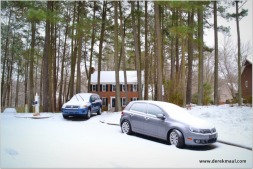 our house and frosted cars