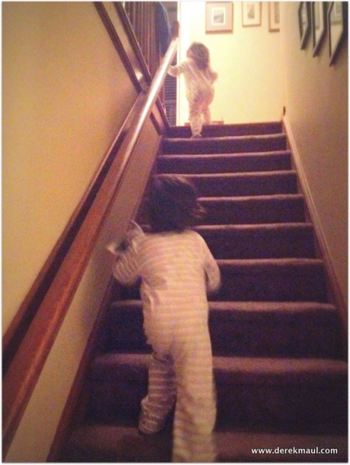 up the stairs to bed!