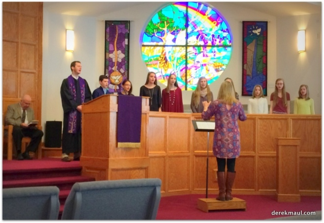 """pastor John jumps in to join """"Youth Harmony"""" at 11:15"""