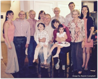 Me, Rebekah and the grands in the middle; then - left to right - Naomi, Craig, Tom, Rachel, David, Grace, James and Caitlin (preacher and husband)