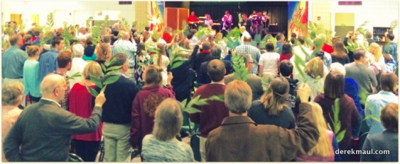 11:15 worship - waving palm branches