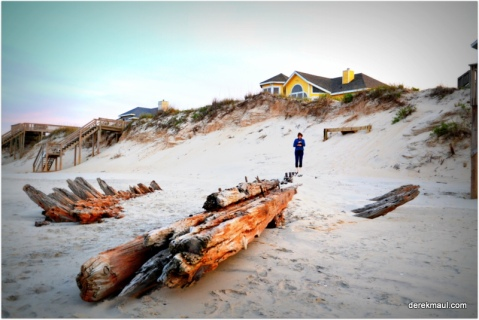 Rebekah with a very cool shipwreck