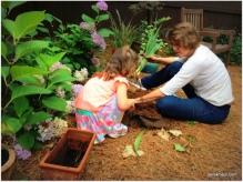 helping grandmama plant