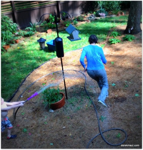chasing grandmama with the hose