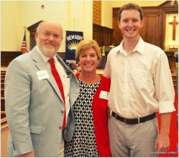 Bob with Sarah Kirby (WFPC clerk of session) and pastor John