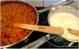 meat sauce and béchamel