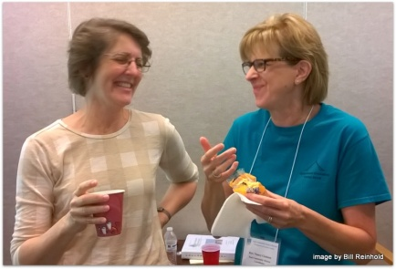 Rebekah laughing with retreat organizer Nancy Gladden