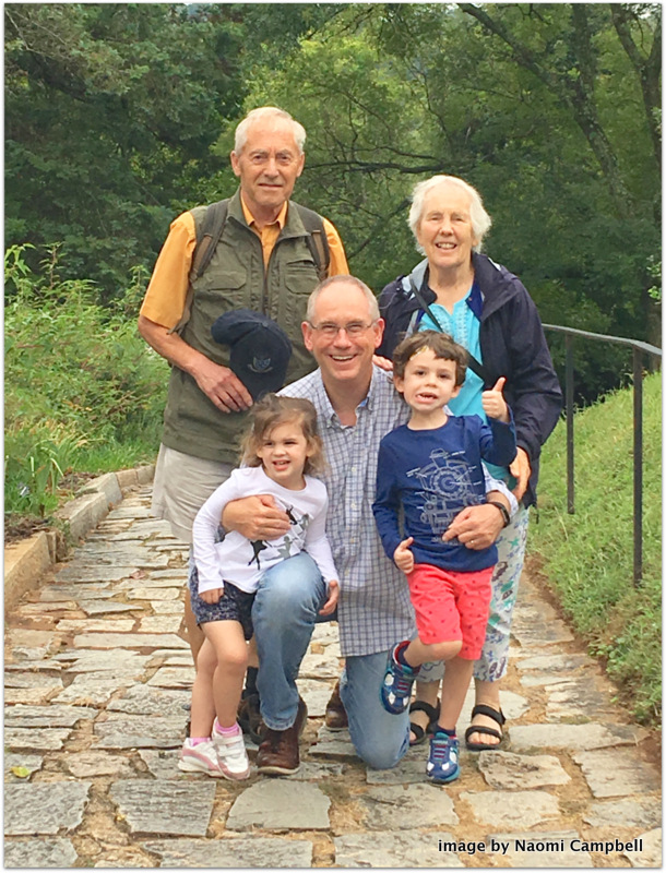 me and the grands with Dorothea and John Clements
