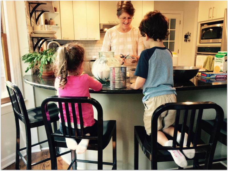 helping Rebekah bake