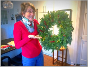 post-surgery - Rebekah with the wreath