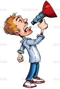 Cartoon of man with a megaphone