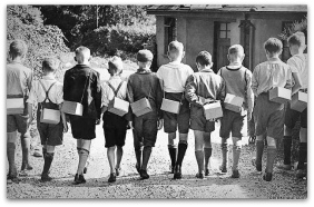 01 A group of boy evacuees with their gas masks, September 1939