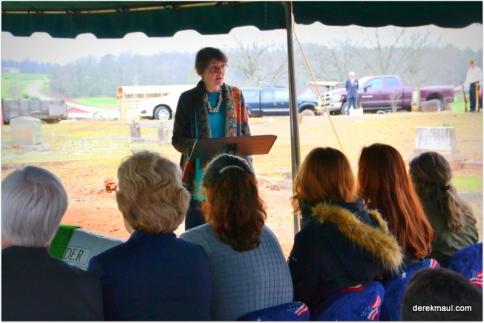 Rebekah bringing the message at graveside