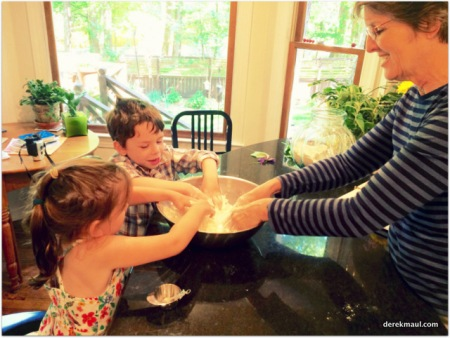 making bread with the grands