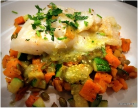 cod with salsa and hash (me)