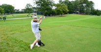 Derek Maul drives from the 8th tee at Quail Hollow at the PGA (image by George Dudley)