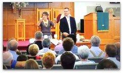 Rebekah and John at traditional worship