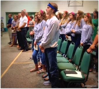 Youth singing in worship at WFPC