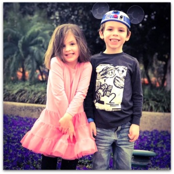 our grands, Beks and David, in Disney
