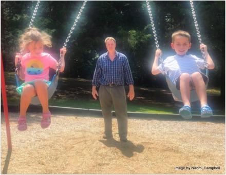 uncle Joe at the swings