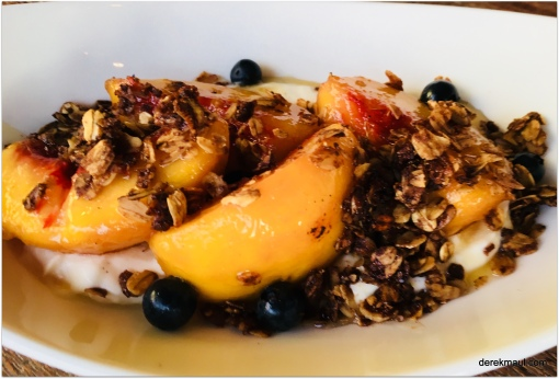 peaches and cream with blueberries
