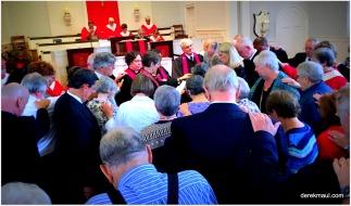 Rebekah offering prayer of ordination for Matthew