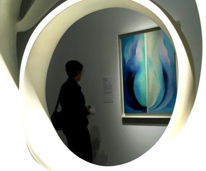 Rebekah viewing O'Keeffe - my view is through an O'Keefe sculpture