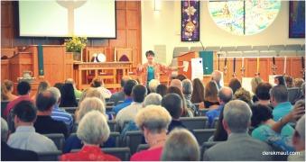 Rebekah speaking at church