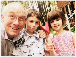 Heading to Palm Sunday worship with my grandchildren!