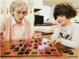 Checkers with Great-grandma Grace