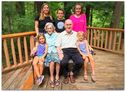 My parents with four of their great-grandchildren and their mom