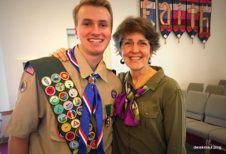 newly minted Eagle, Miller, with Rebekah